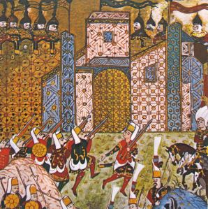 Asalto a Rodas en una miniatura otomana